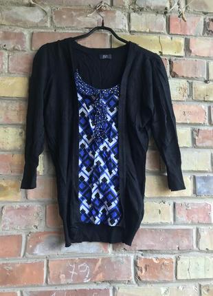 Джемпер с блузой с геометрически принтом