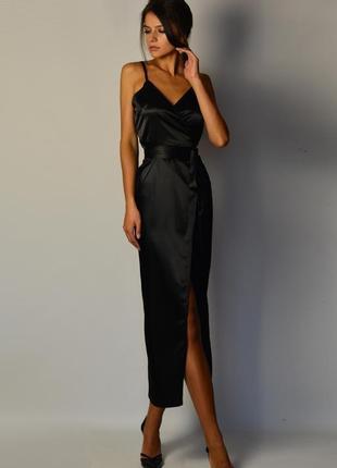 7257b8d61 Роскошное элегантное женственное и сексуальное платье миди атлас шелк запах  разрез