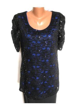 Xl- вечерняя туника блуза с пайетками, большой размер, с биркой