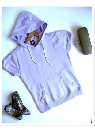 S- модная лавандовая худи толстовка с коротким рукавом, с биркой