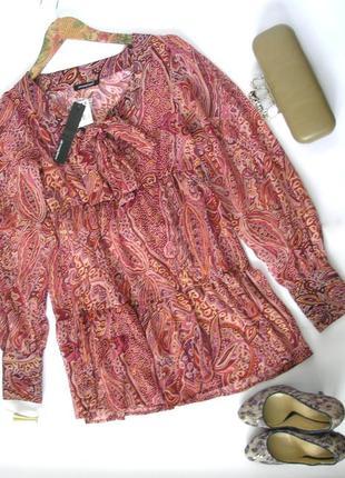 S- atmosphere- шифоновая блуза-туника с воланом, с биркой, доставка бесплатно