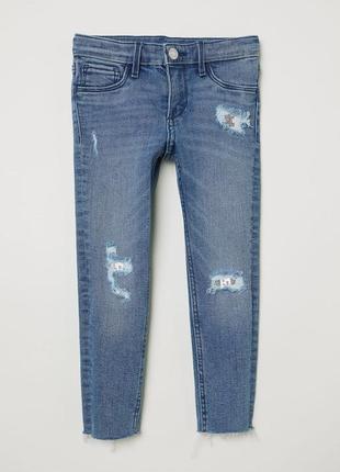 Рваные джинсы с пайетками h&m. размеры от 3 до 8 лет