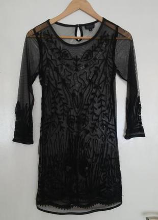 Платье туника из сетки с вышивкой topshop, xs
