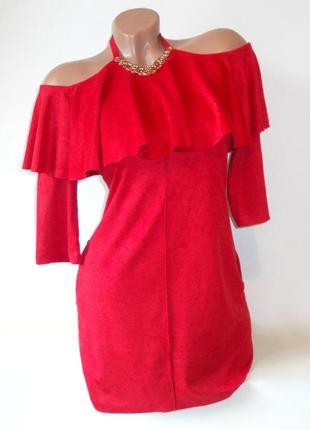 Шикарное замшевое платье с ожерельем и воланом короткое яркое