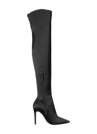 Kendall + kylie оригинал черные атласные сатиновые ботфорты на шпильке бренд из сша