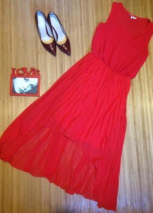 Шикарное шифоновое платье с юбкой плиссе,размер м