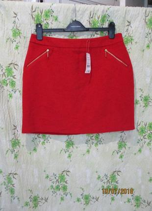 Красная теплая юбка с замочками 48 размер