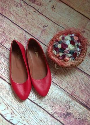 Кожа! красивые туфли, балетки на низком ходу2 фото