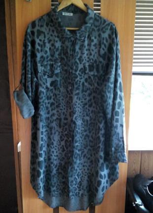 Супер платье - рубашка оверсайз большого размера day4 day
