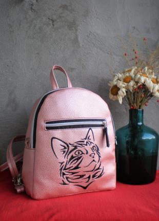"""Розовый рюкзак ручной работы """"кошка"""""""