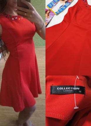 Яркое красное фактурное платье с камушками😍😍😍