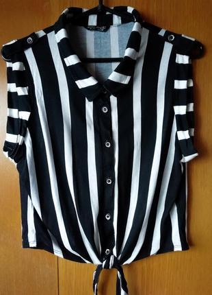 Черно-белая женская блузка в полоску