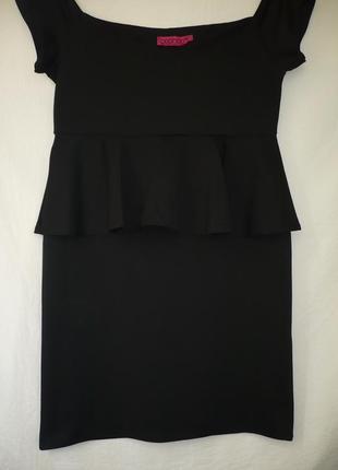 Платье черное, с баской, классика