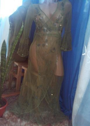 Невероятно-шикарное асимметричное платье-парео с вышивкой, паетками от peace angel
