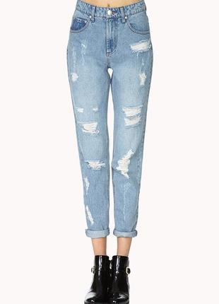 Горячий тренд! рваные джинсы мом высокая посадка бойфренды от forever 21