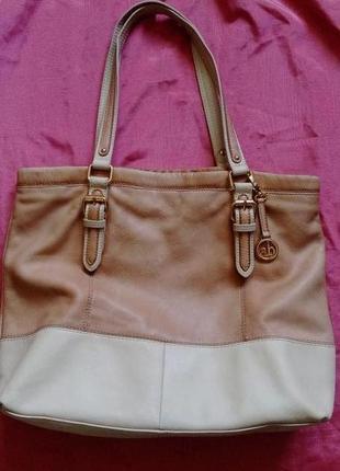 Кожаная, летняя, большая, брендовая сумка шопер