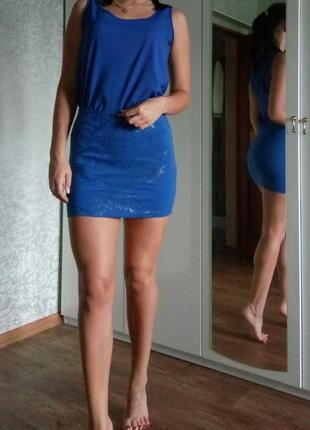 Обтягивающая стрейчевая синяя юбка с узором