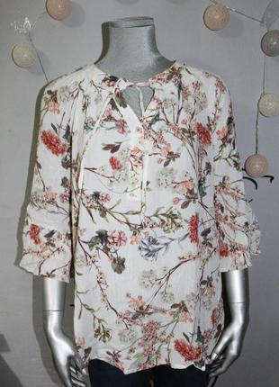 Блуза рубашка в цветы растительный принт c&a