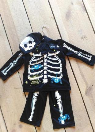 Карнавальный костюм скелет скелетик 1-2 года на хэллоуин новый