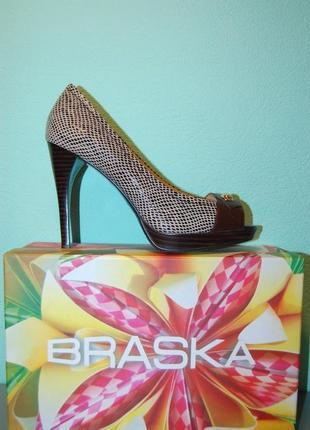Туфли braska бежево-коричневые с открытым носком