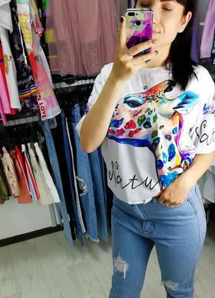 Женская футболка. стильная футболка. футболка с милым принтом.