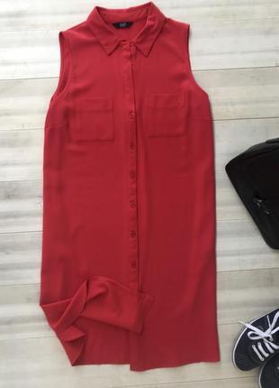 Ярко красное платье- рубашка туника