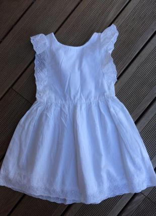 Летнее пышное белое платье с кружевами от h&m из хлопка на 2-3 года1
