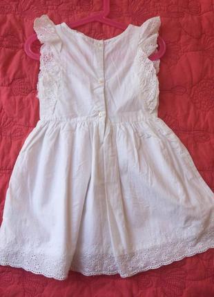 Летнее пышное белое платье с кружевами от h&m из хлопка на 2-3 года2