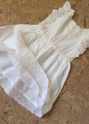 Летнее пышное белое платье с кружевами от h&m из хлопка на 2-3 года3