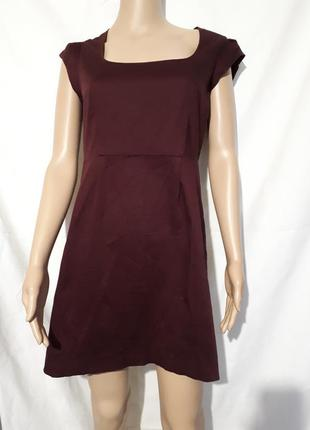 Платье бордовое миди футляр женское демисезонное однотонное