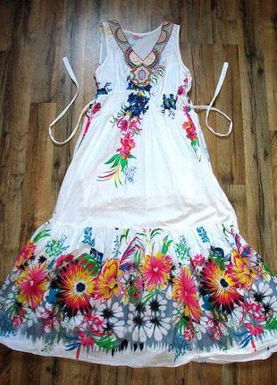 Милое хлопковое платье с ярким принтом и вышивкой от тм natural indiano