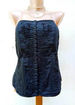 Роскошный,нарядный,вечерний черный карсет расшит бисером,большой размер.