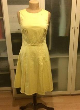 Желтое платье миди h&m сукня хлопковое офисное летнее