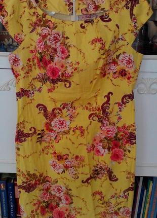 Платье новое с модным цветочным принтом 52 разм
