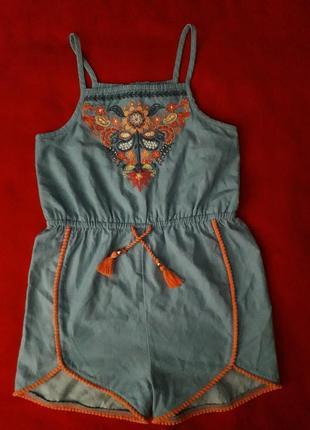 Крутой ромпер комбинезон с вышивкой от f&f 100% коттон на девочку 6-7 лет