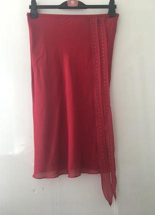 Роскошная шелковая красная юбка, полностью натуральный шёлк, whistles