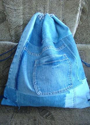 Джинсовый рюкзак-мешок на шнурках