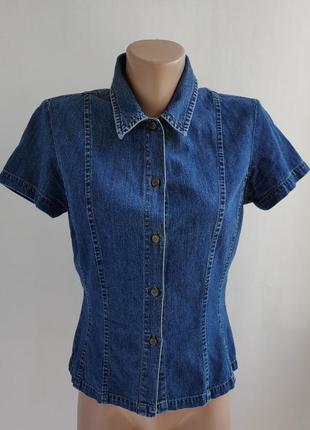 Винтажная джинсовая рубашка с коротким рукавом laura ashley