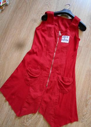 #красное льняное  платье# италия#туника #сарафан #