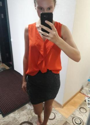 Яркая блуза с воланами рюшами рубашка  топ майка сорочка2 фото