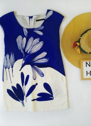Синее платье классика хлопок цветы офисный стиль