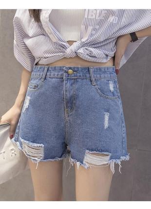 Женские джинсовые рваные шорты