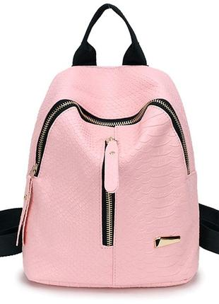 Рюкзак розовый однотонный мини молния спереди кожаный тиснение аллигатор