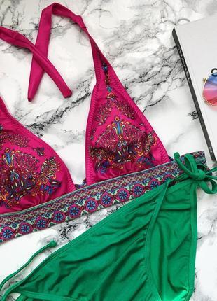 Розпродаж купальник в стилі вікторія л l  з вишивкою малиново зелений м-л