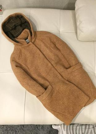Шерстяное пальто zara кокон, с капюшоном, буклированная ткань рр m-l