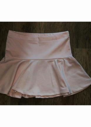Розовая пудровая мини юбка клёш bershka