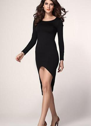 Черное платье по фигурке- prettylittlething