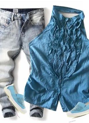 Легкая блуза с открытой спиной размер 46-48