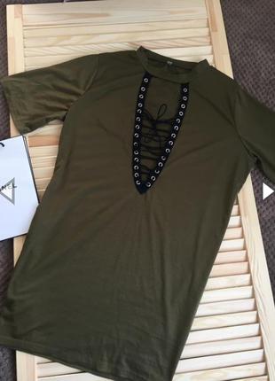 Платье футболка на шнуровке хаки платье со шнуровкой