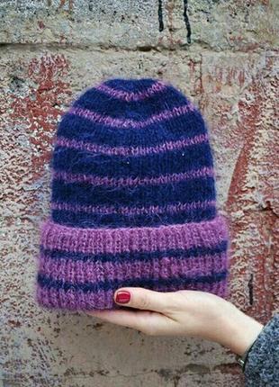 Объемная шапка синяя в полоску
